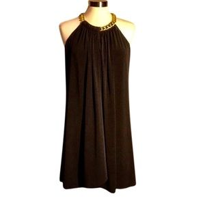 Jessica Simpson Black Dress w/Gold Chain Necklace